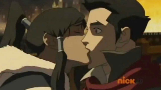 Korra surprises Mako with a kiss