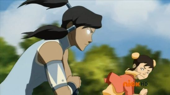 Here Korra uses the Avatar State to win a race against a small child.