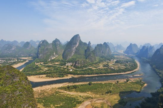 A view of the Karst landscape surrounding the Li River, in South China
