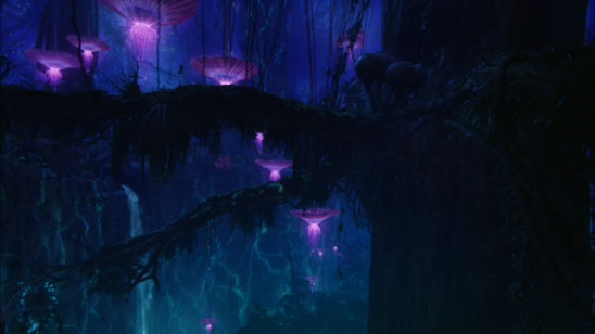 Trees and large glowing plants of Pandora (2009 Avatar movie)