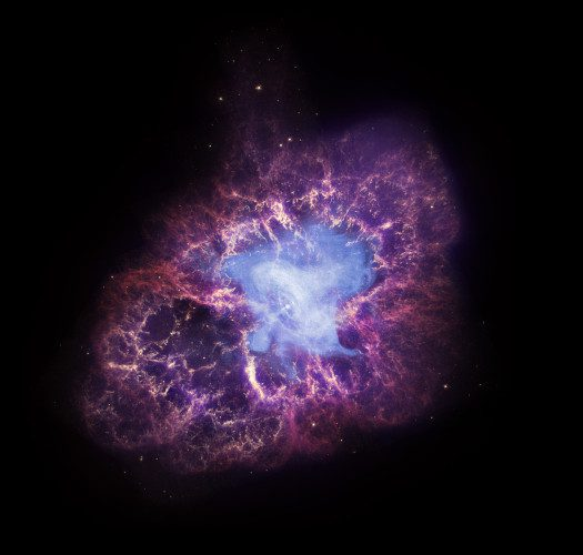 "A star's spectacular death in the constellation Taurus was observed on Earth as the supernova of 1054 A.D. Now, almost a thousand years later, a super dense object -- called a neutron star -- left behind by the explosion is seen spewing out a blizzard of high-energy particles into the expanding debris field known as the Crab Nebula. X-ray data from Chandra provide significant clues to the workings of this mighty cosmic ""generator,"" which is producing energy at the rate of 100,000 suns. This composite image uses data from three of NASA's Great Observatories. The Chandra X-ray image is shown in blue, the Hubble Space Telescope optical image is in red and yellow, and the Spitzer Space Telescope's infrared image is in purple. The X-ray image is smaller than the others because extremely energetic electrons emitting X-rays radiate away their energy more quickly than the lower-energy electrons emitting optical and infrared light. Along with many other telescopes, Chandra has repeatedly observed the Crab Nebula over the course of the mission's lifetime. The Crab Nebula is one of the most studied objects in the sky, truly making it a cosmic icon."