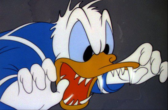 Donald Duck is known for having a foul and angry temperament