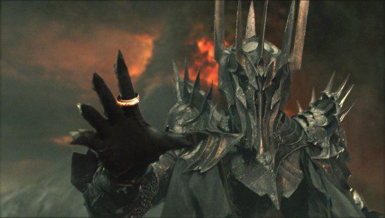 Sauron is threatening mostly because he is distant and mysterious.
