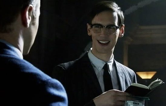 In the show Gotham, Edward Nygma frequently asks riddles of his coworkers. After he commits his first crime, he can't help leaving a riddle behind.