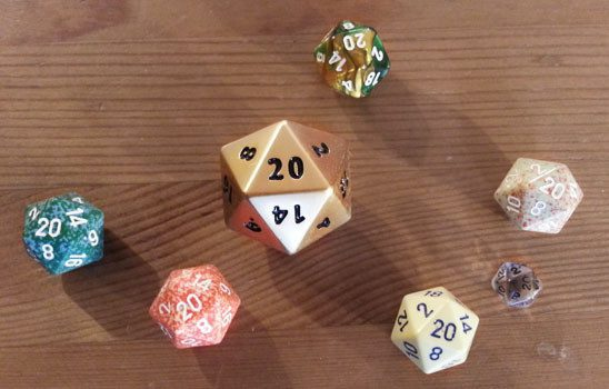 D20s with 20 face up