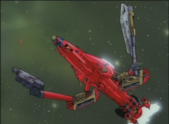 The Outlaw Star, a ship with close combat arms.