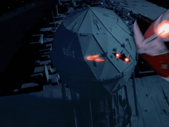 A-Wings attacking the Super Star Destroyer's shield generator.