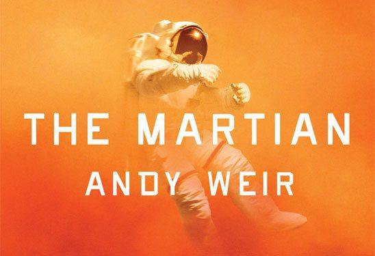 Person in Space Suit in Red Haze - Cover of The Martian by Andy Weir