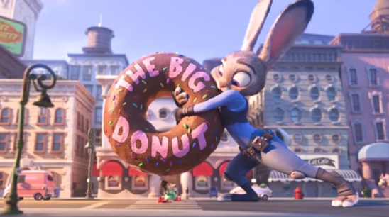 Officer Hops saving a shrew from being crushed by a giant doughnut sign.