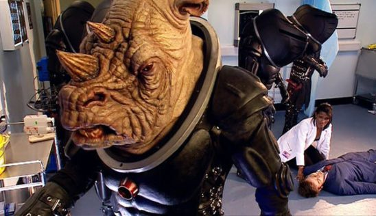 The Doctor injured behind a judoon.