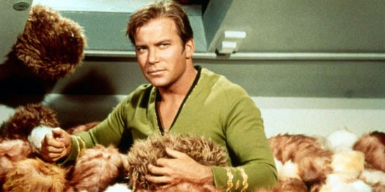 Kirk in a pile of tribbles.