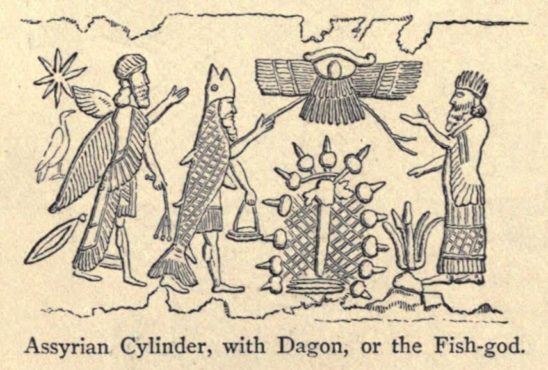 Engraving of an Assyrian Cylinder, with Dagon, or the Fish-god
