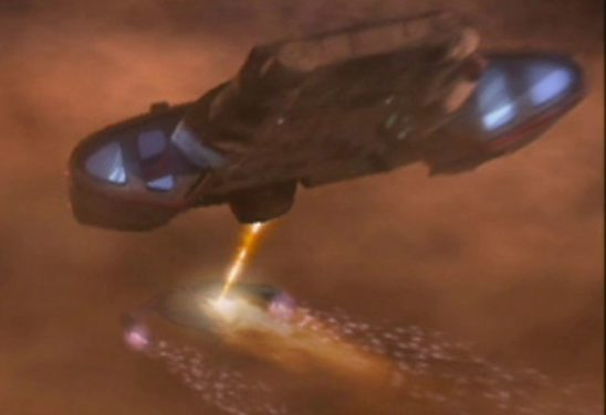 The Defiant firing on a Dominion ship in Starship Down.
