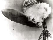 The airship Hindenburg, on fire at the stern.