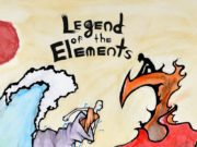 Stylized martial artists wield elemental powers.