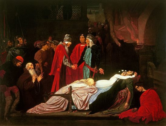 The warring families making peace over Romeo and Juliet's body.