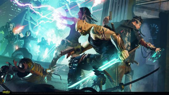 A team of shadowrunners in a fight.