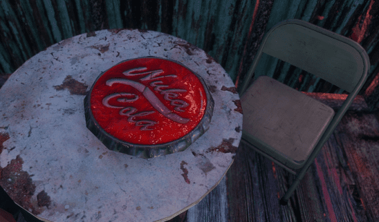 A huge bottle cap in Fallout 4.