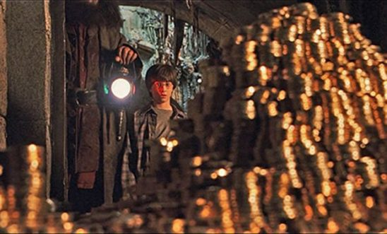 Harry Potter first seeing his vault of gold.
