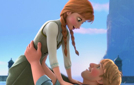Kristoff lifting Anna up playfully.