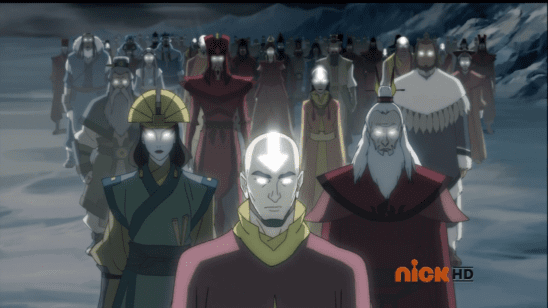The previous avatars from Legend of Korra