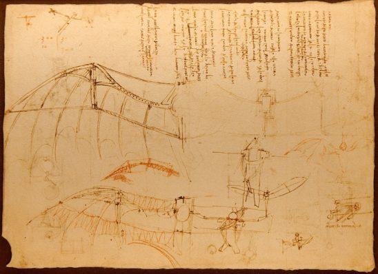 Leonardo Da Vinci's glider diagram.