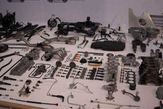 The dissembled pieces of a car.