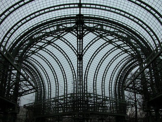 Metal structure on the roof garden of Les Halles, Paris, France