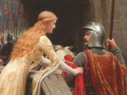 A lady says farewell to a knight