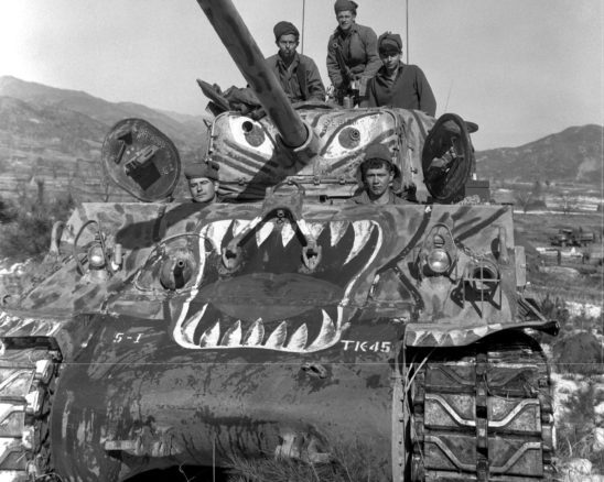 A Korean war tank painted to look like a monster.