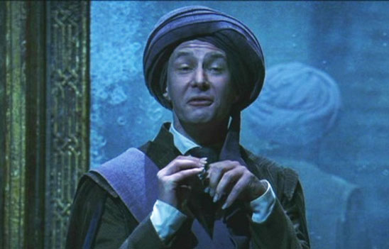 Professor Quirrell makes fun of the stutter he supposedly had