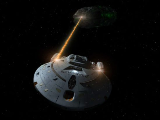 Voyager fighting a Borg ship