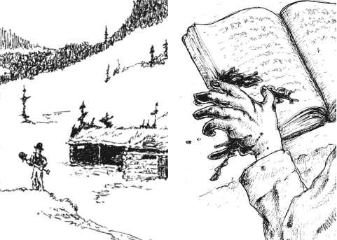 Art from Dogs in the Vineyard, showing a man digging a hole and a bloody hand on a book.