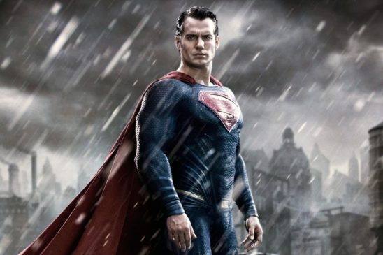 Henry Cavill's Superman standing in the rain.