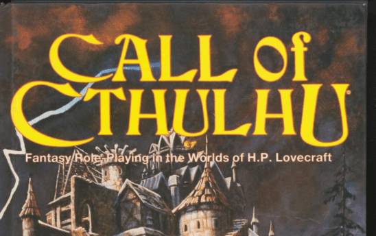 Cover art from Call of Cthulhu, featuring a scary castle and the RPG's title.