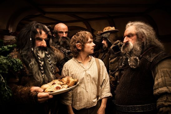 Bilbo and the dwarves from the Hobbit.