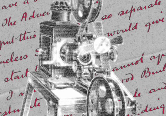 Cover art from the Disintegration Machine, showing something that looks like a film projector.