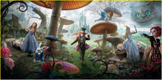 The cast of Time Burton's Alice in Wonderland.