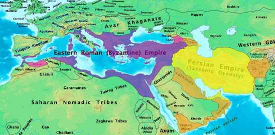 A map of the Roman and Persian Empires