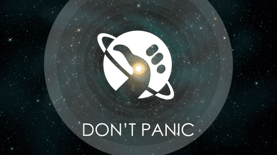 """The Hitchhiker's Guide logo with """"Don't Panic"""" written under it."""