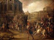 Roman army besieging a city.