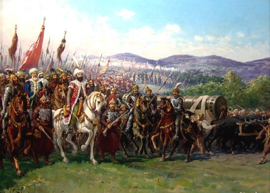 Ottoman troops marching to attack Constantinople.