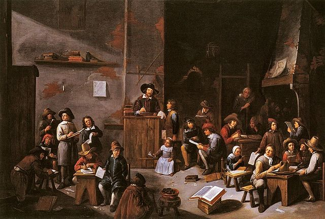 A painting of a school room from the 1600s