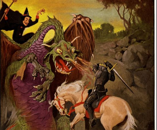 A knight and a witch teaming up to battle a dragon.