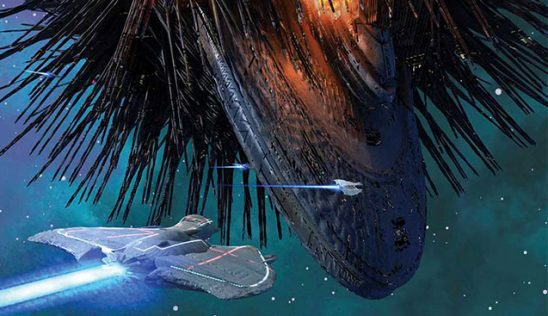 Three ships approaching a space station in Ninefox Gambit.