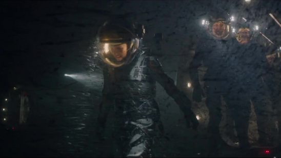 Astronauts in a dust storm from The Martian.