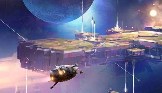 Ships launching from a massive space station, from cover art of The Collapsing Empire