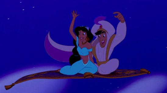 Aladdin and Jasmine on their magic carpet ride.