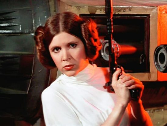 Princess Leia drawing her blaster in Star Wars: A New Hope.