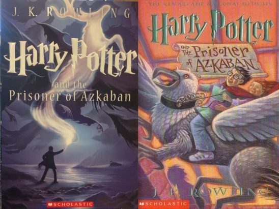 Two covers for Harry Potter and the Prisoner of Azkaban.